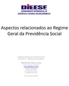 DIEESE: Aspectos relacionados ao Regime Geral de Previdencia Social