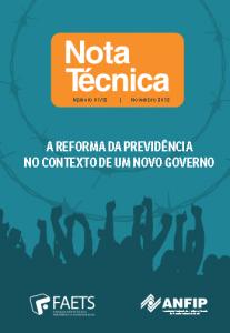 Nota Técnica Nov-2018: A reforma da Previdência no Contexto de Um Novo Governo