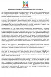 Manifesto dos Economistas em defesa da Previdência Social, contra a PEC/6